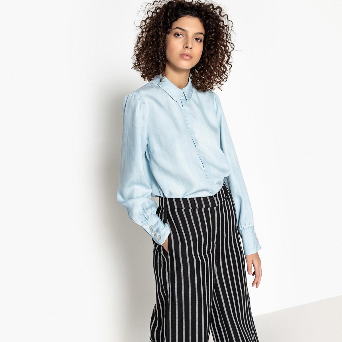 Рубашка однотонная с воротником-поло и длинными рукавами