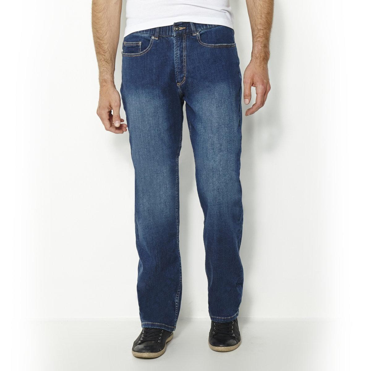 Джинсы прямые из денима стретч с эластичным поясом, длина 2 джинсы расклешенного покроя из денима стретч