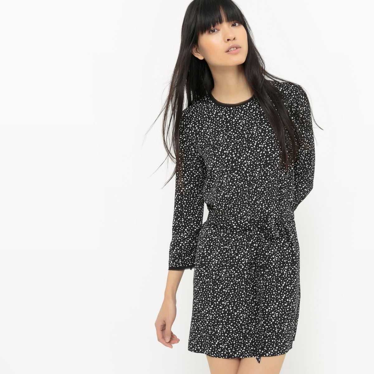 Платье короткое с рукавами 3/4 и рисунком платье с рукавами 3 4 roncier