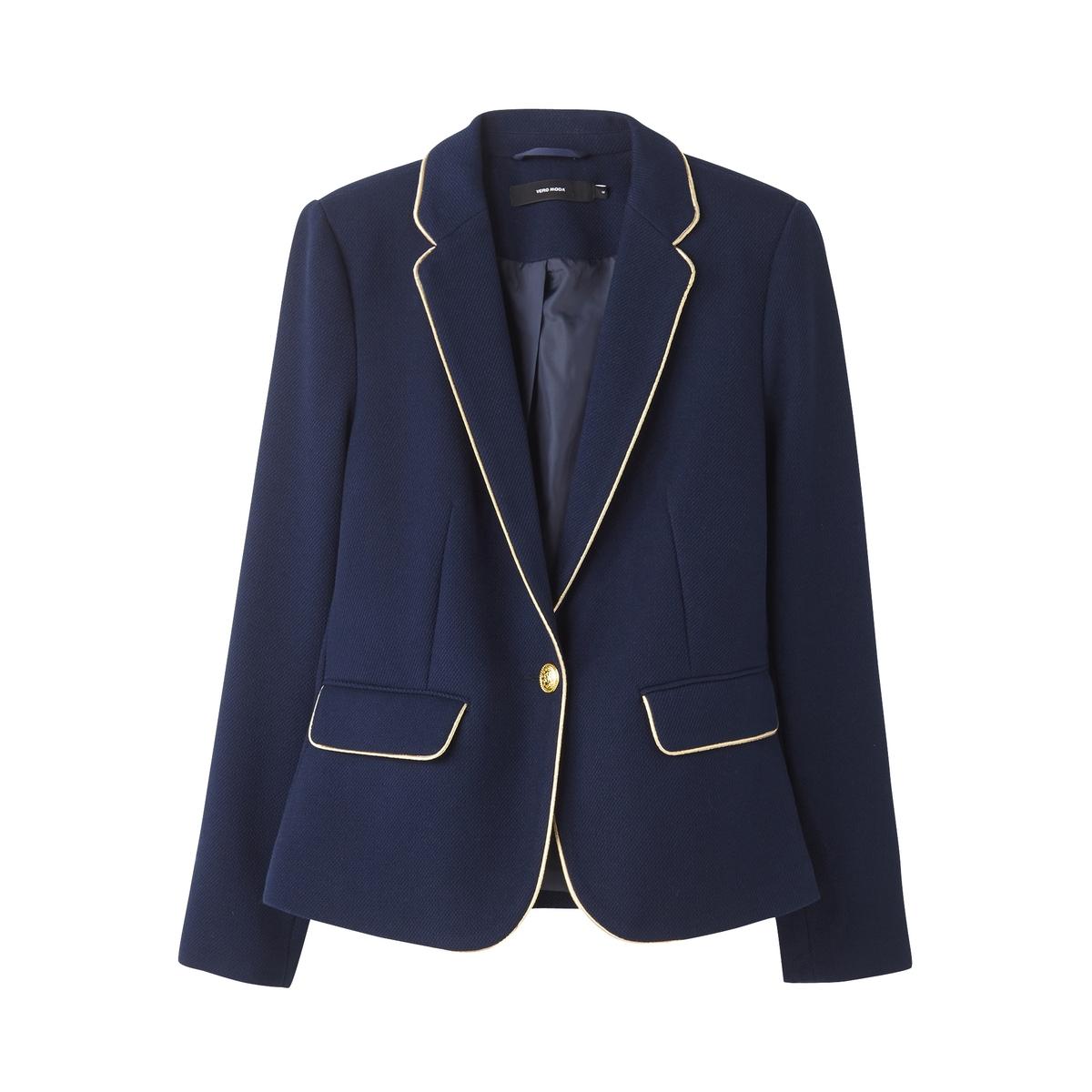 Куртка-блейзер приталеннаяДетали •  Блейзер •  Приталенный покрой   •  Воротник-поло, рубашечный Состав и уход •  60% хлопка, 40% полиэстера •  Следуйте рекомендациям по уходу, указанным на этикетке изделия<br><br>Цвет: темно-синий<br>Размер: XS