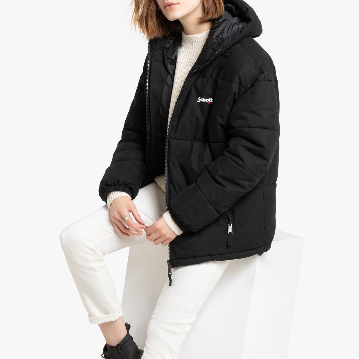 Куртка La Redoute Стеганая унисекс с капюшоном широкая Alaska M черный цена