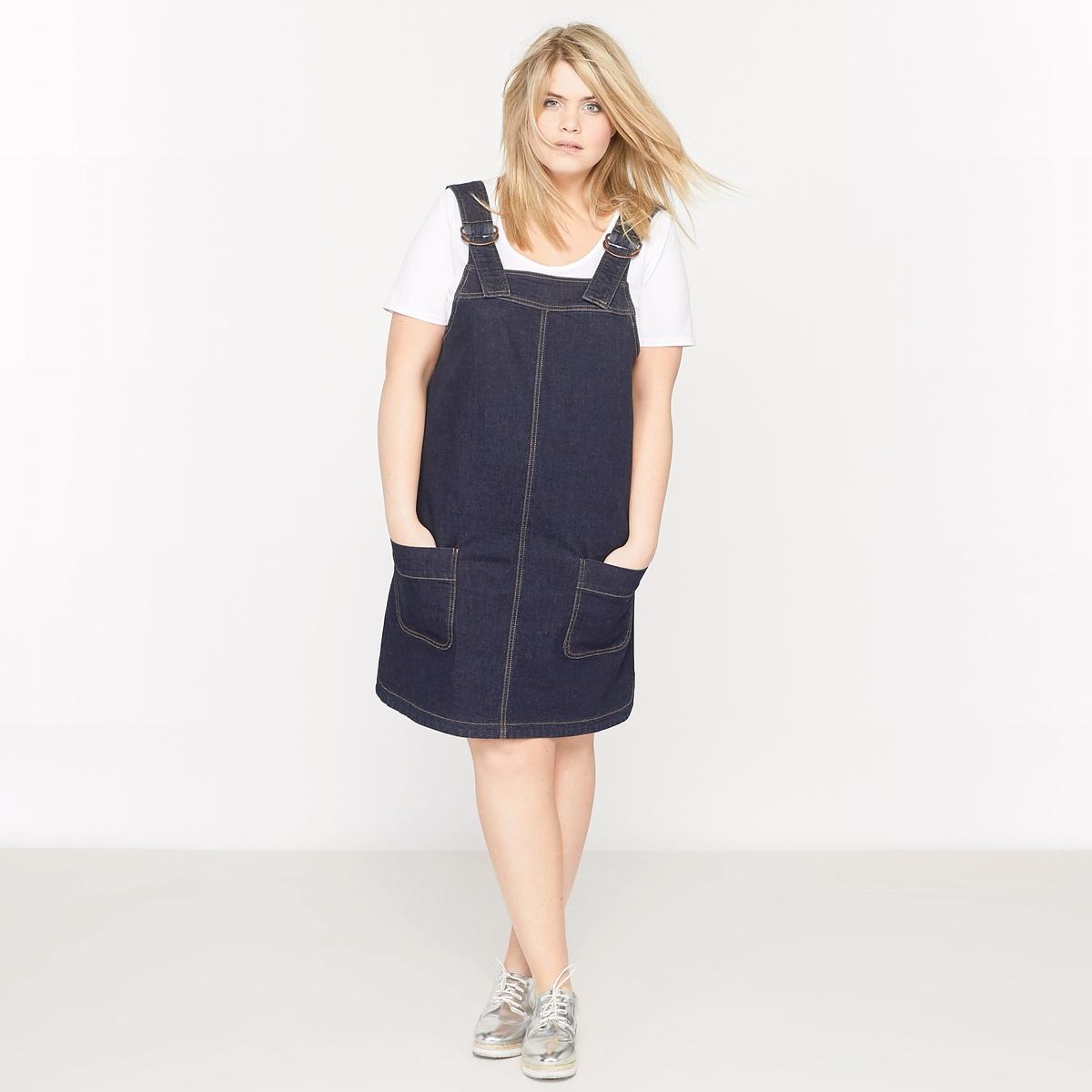 Платье-комбинезон из денимаМатериал : деним, 99% хлопка, 1% эластана.Длина : 95 см.Марка : CASTALUNA.Уход : Машинная стирка при 40 °С.<br><br>Цвет: темно-синий