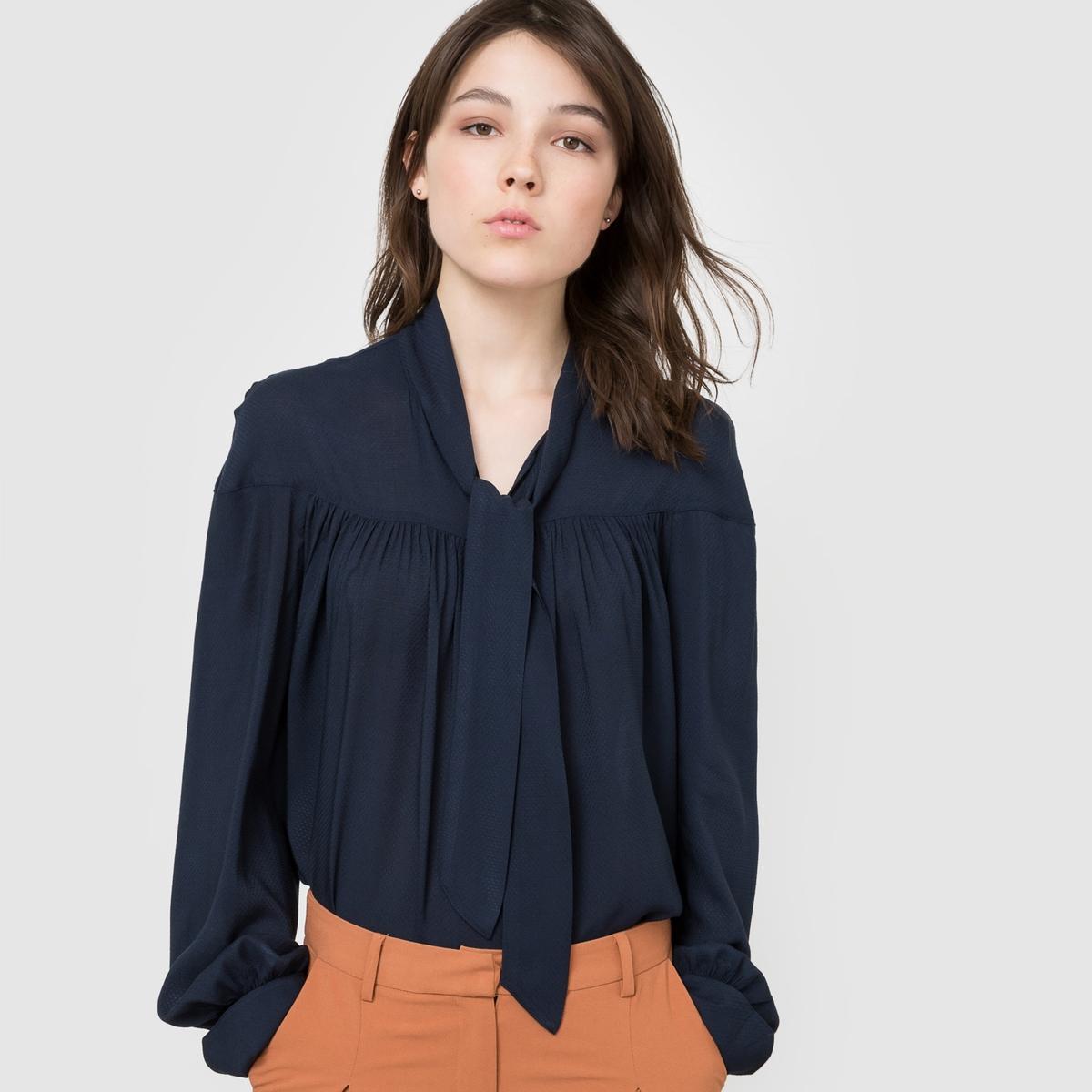 Блузка с галстуком-бантомУход :Стирка при 30°C с вещами Машинная сушка на низкой температуре с изнанкиГладить на низкой температуре с изнанки.<br><br>Цвет: зеленый<br>Размер: 46 (FR) - 52 (RUS)
