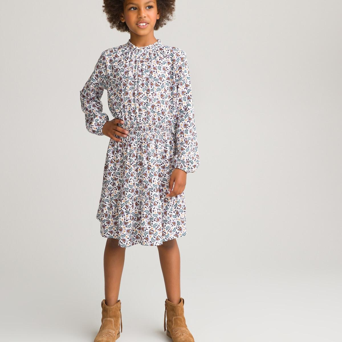 Платье LaRedoute С длинными рукавами и цветочным принтом 3-12 лет 9 лет - 132 см бежевый