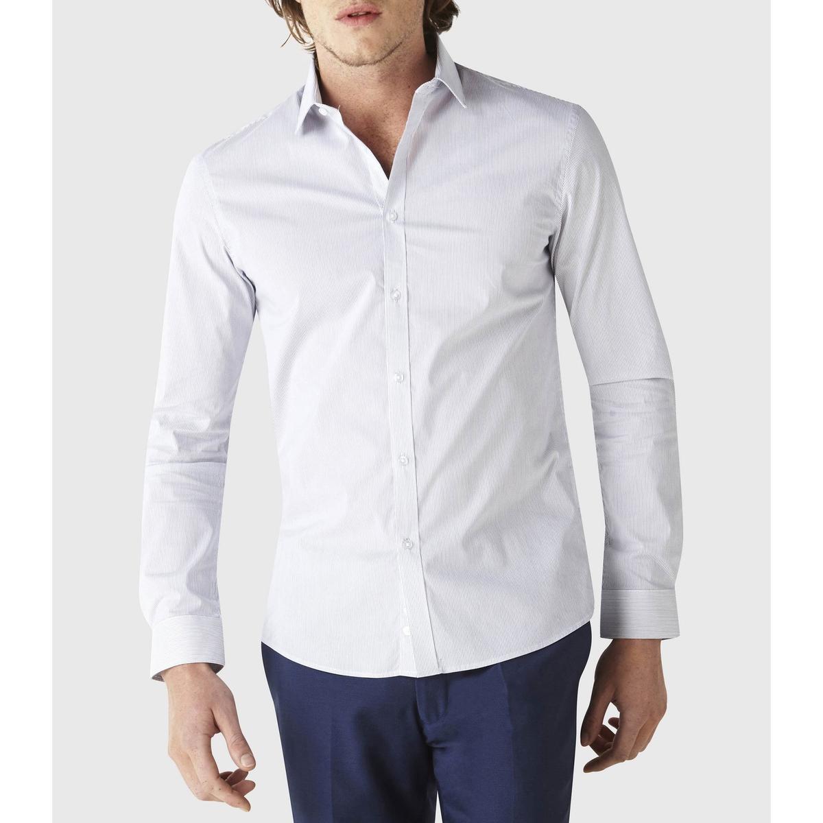 Рубашка зауженная в полоску из хлопка стретч Cavantal