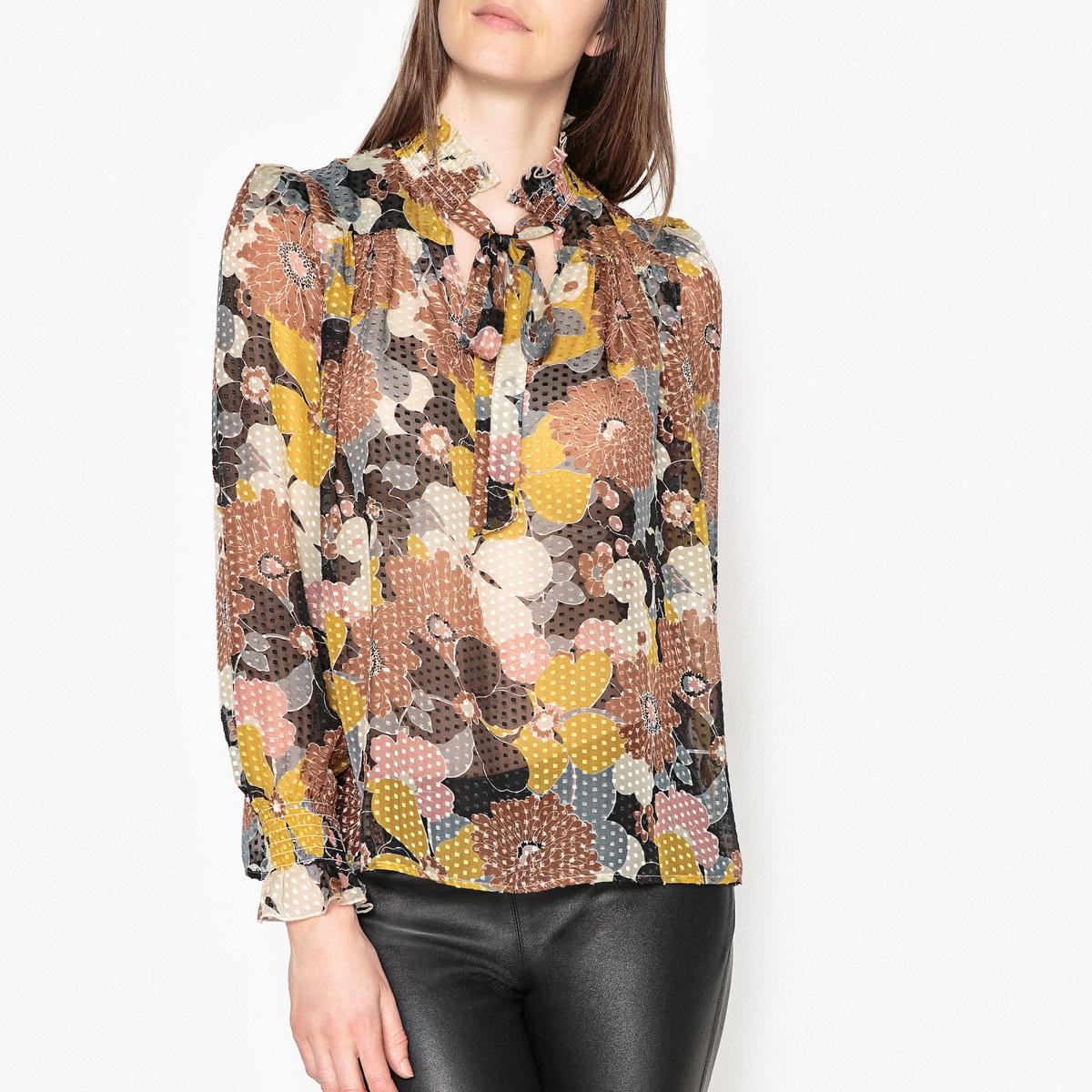 Блузка из шелка с длинными рукавами BELLINI