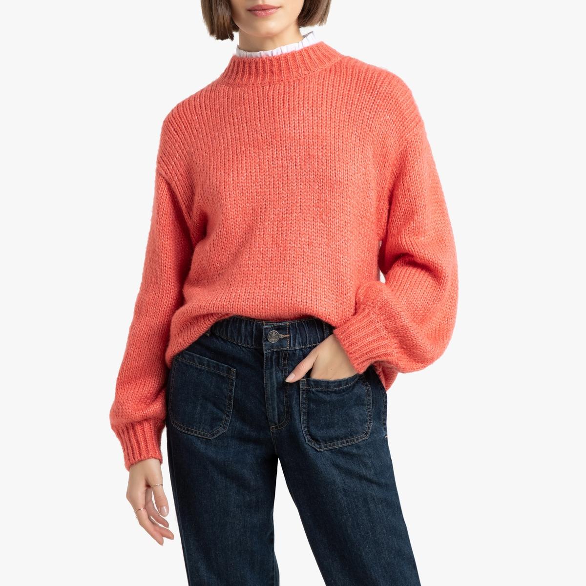 Пуловер La Redoute С воротником-стойкой из плотного трикотажа L розовый цена и фото
