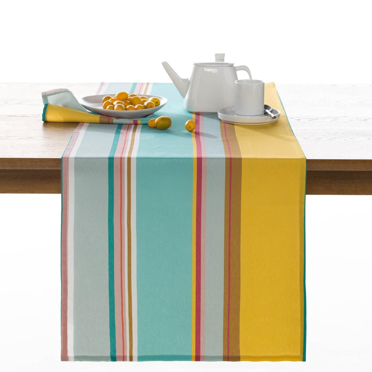 Дорожка столовая в полоску, AlicanteХарактеристики столовой дорожки :70% хлопка, 30% полиэстера.Размеры столовой дорожки :45 x 150 смУход :Машинная стирка при 60 °С.Возможна машинная сушка.<br><br>Цвет: желтый/ синий
