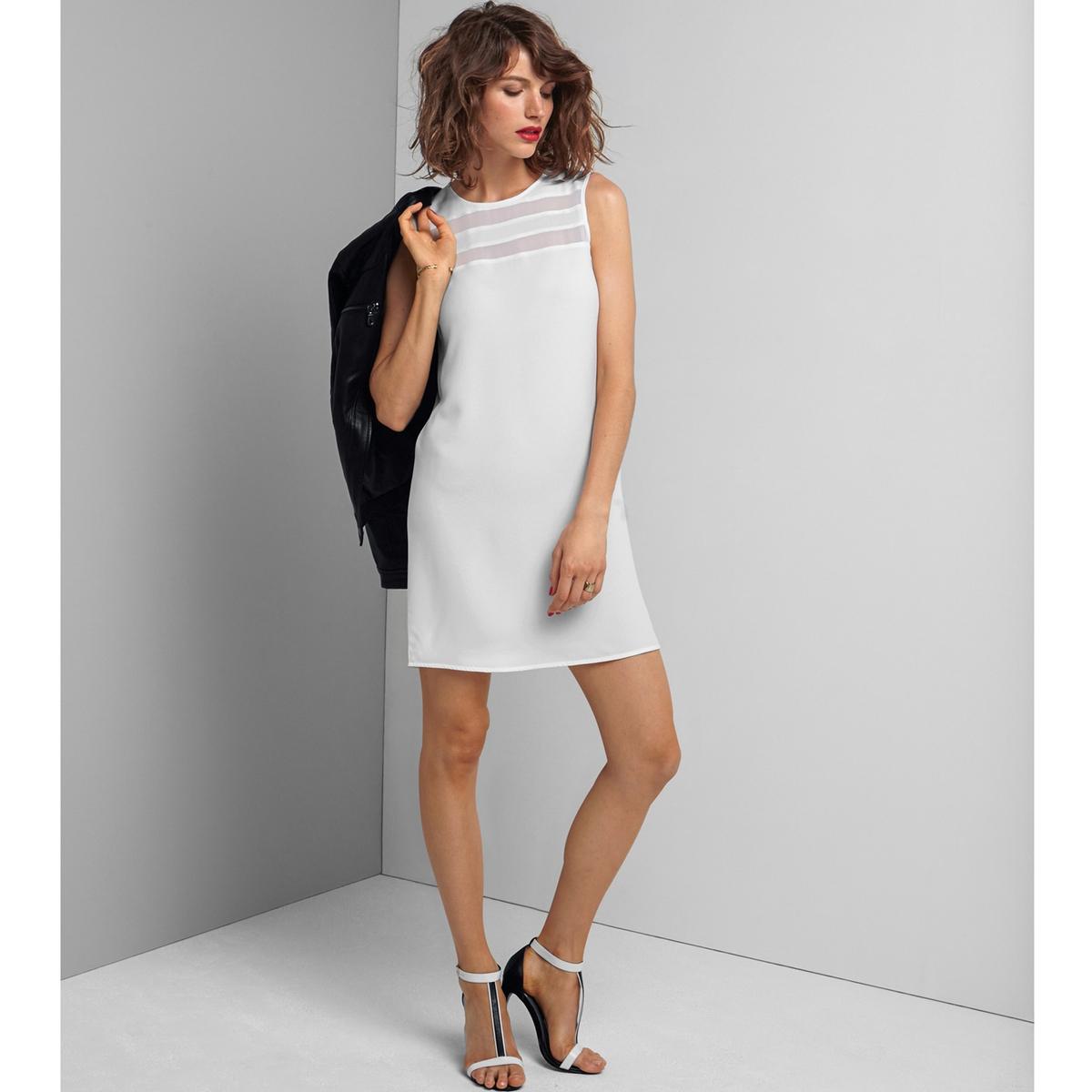 Фото Платье прямого покроя с прозрачным верхом без рукавов. Купить с доставкой