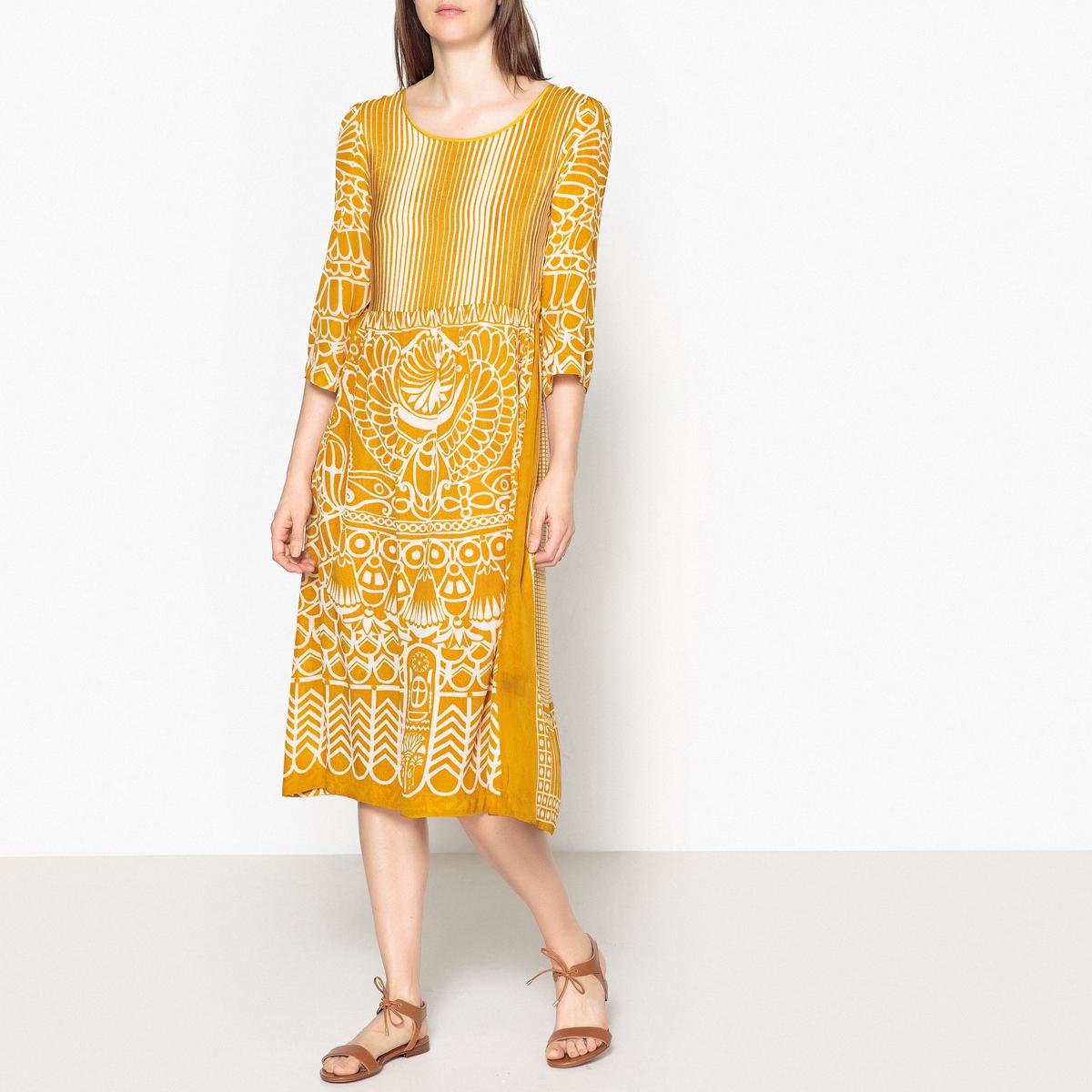 Платье длинное струящееся с этническим принтом