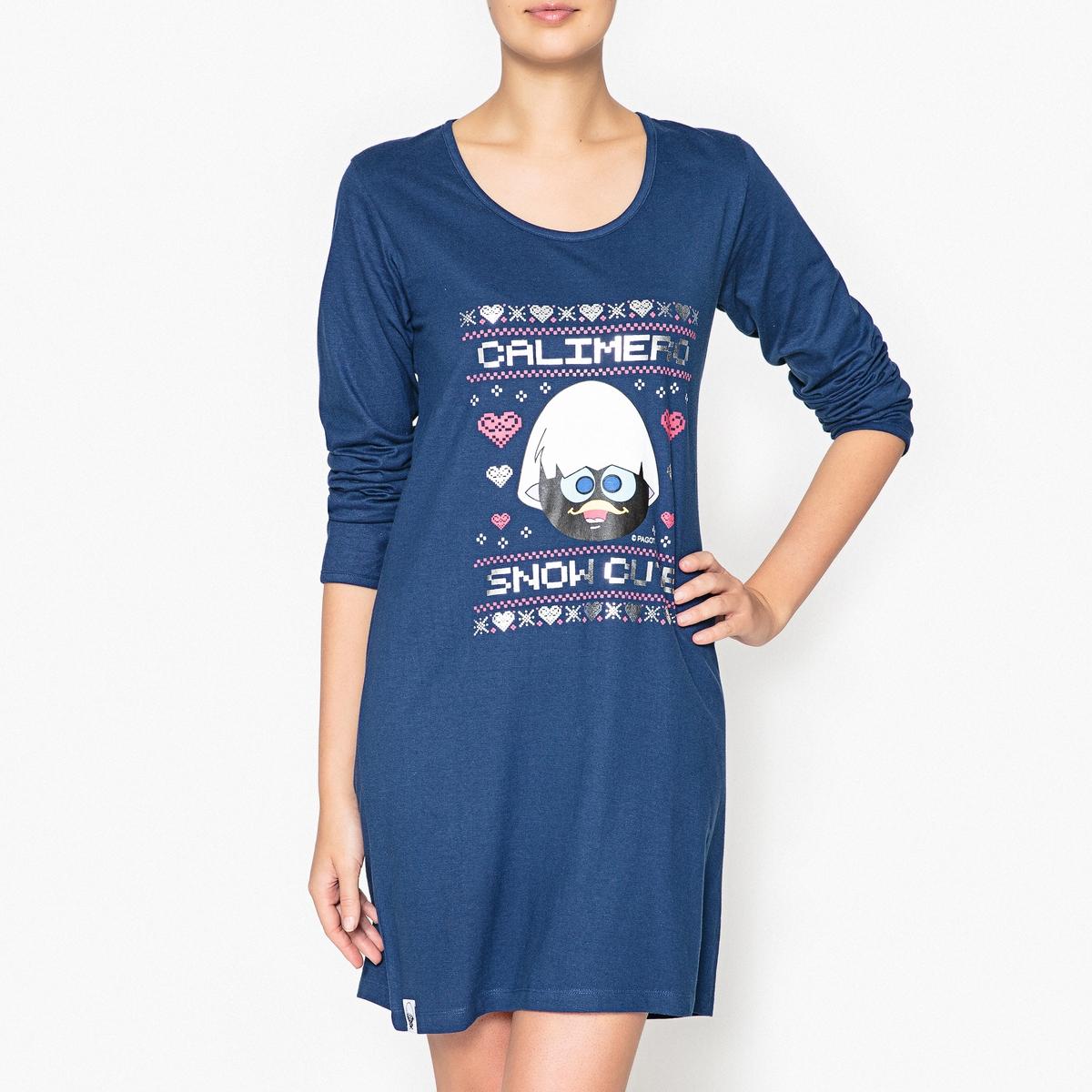 Рубашка ночная с принтом, CalimeroНочная рубашка- большая футболка с принтами, блестящими вставками, логотипом Calimero и Рождественским узором !Состав и описаниеНочная рубашка с принтом с длинными рукавами . Круглый вырез. Материал :  100% хлопокМарка : Calimero Уход: :Машинная стирка при 30 °С на деликатном режиме с вещами схожих цветов.Стирать и гладить при низкой температуре с изнаночной стороны.Машинная сушка запрещена.<br><br>Цвет: темно-синий