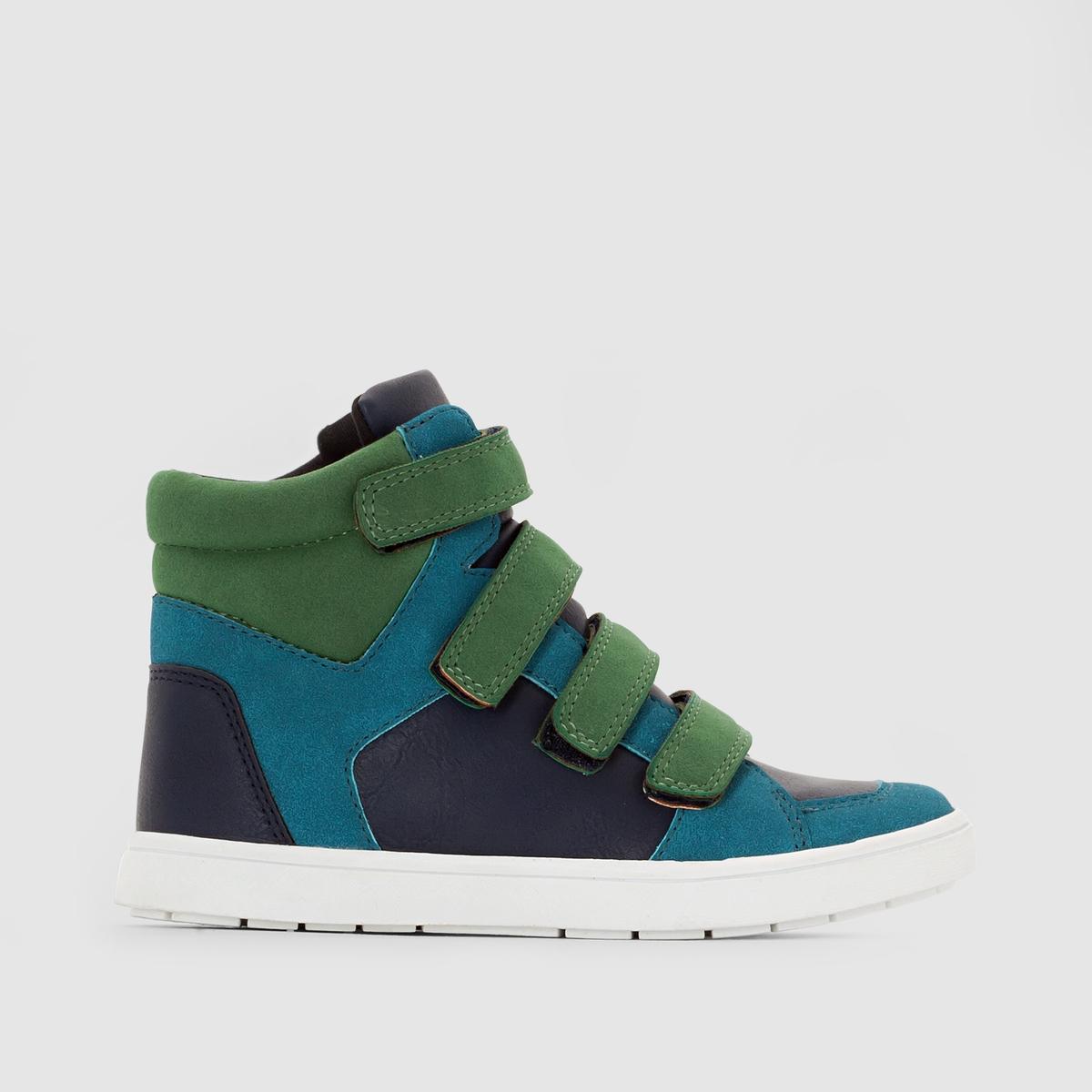 Кеды высокие двухцветныеКеды высокие abcdRВерх : искусственная замшаПодкладка : текстильСтелька : текстильПодошва : из эластомераЗастежка : планка-велкро<br><br>Цвет: синий + зеленый<br>Размер: 36