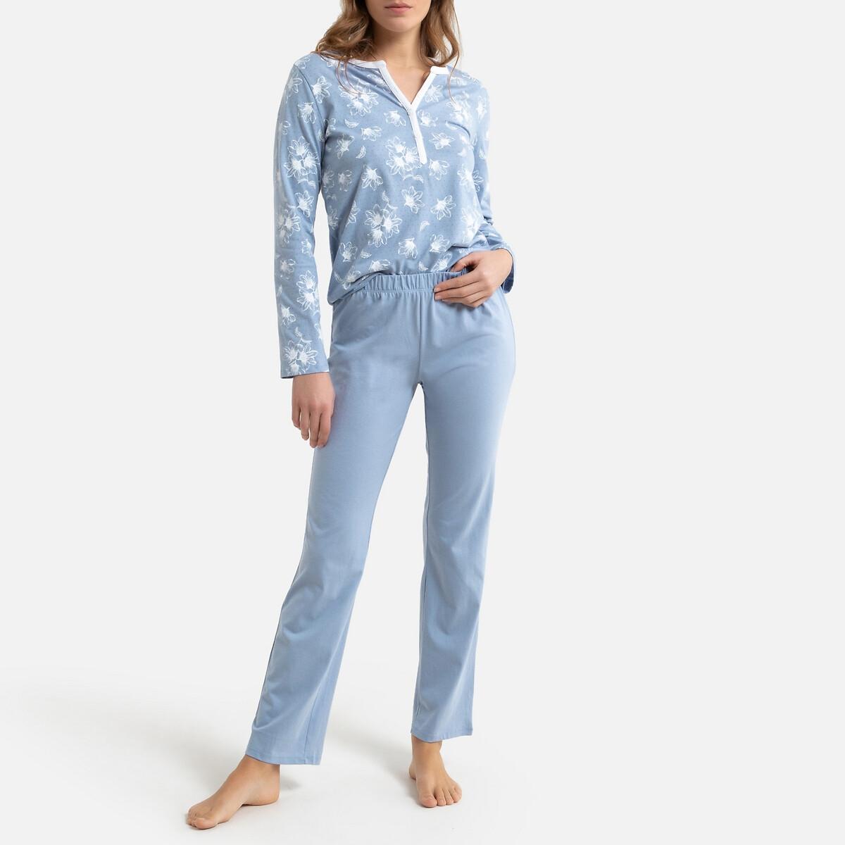 Pijama em malha puro algodão, camisola estampada às flores