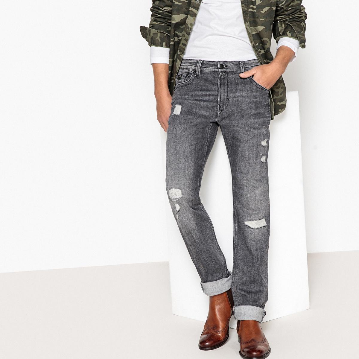 Джинсы прямые с рваным эффектом Broz джинсы прямые 3 12 лет