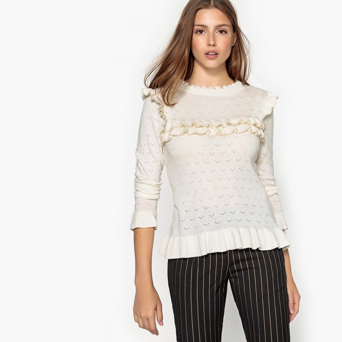 Пуловер с круглым вырезом и воланами PRUNE шапка носок apo stripes prune multicolor