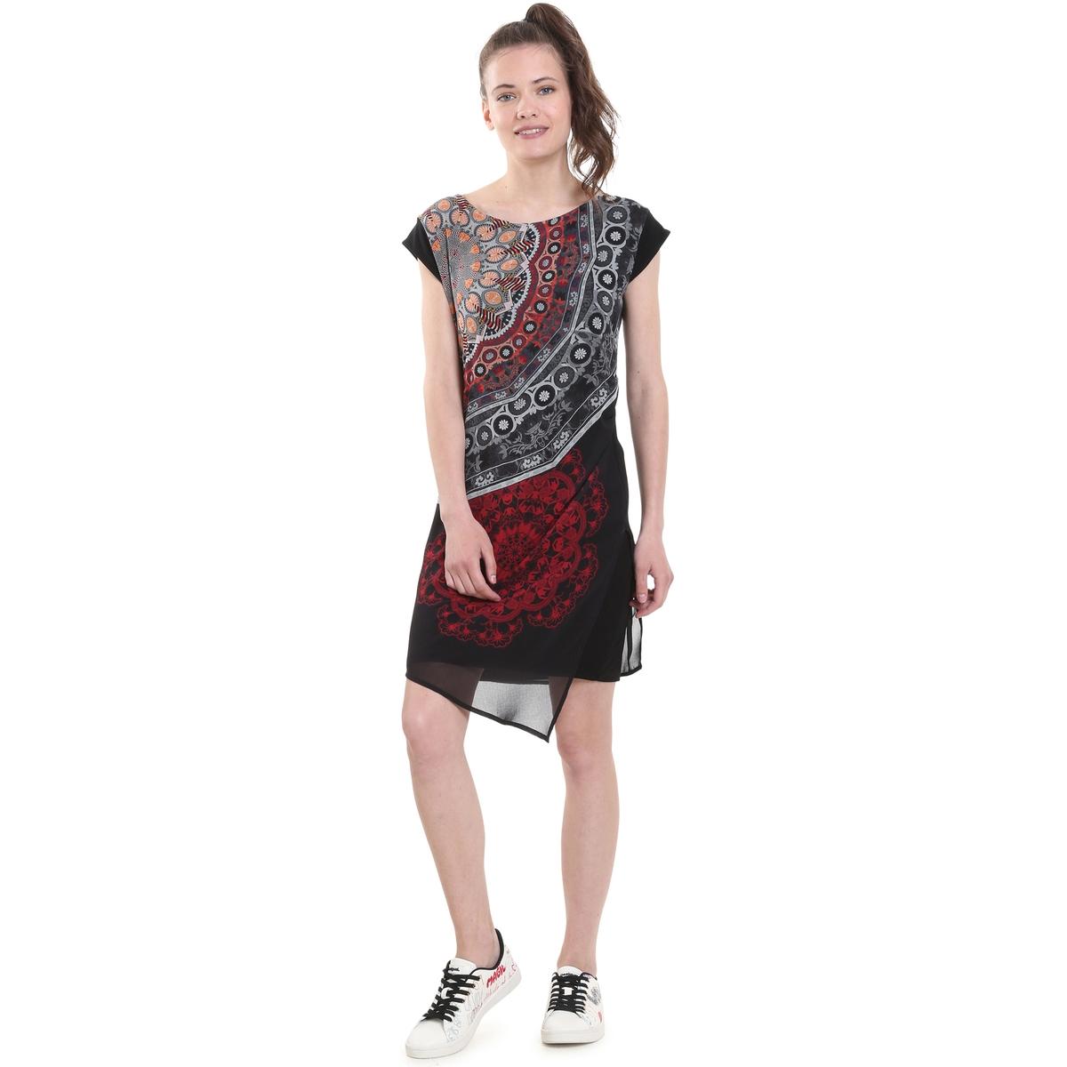 Платье короткое из джерси и вуали с принтом