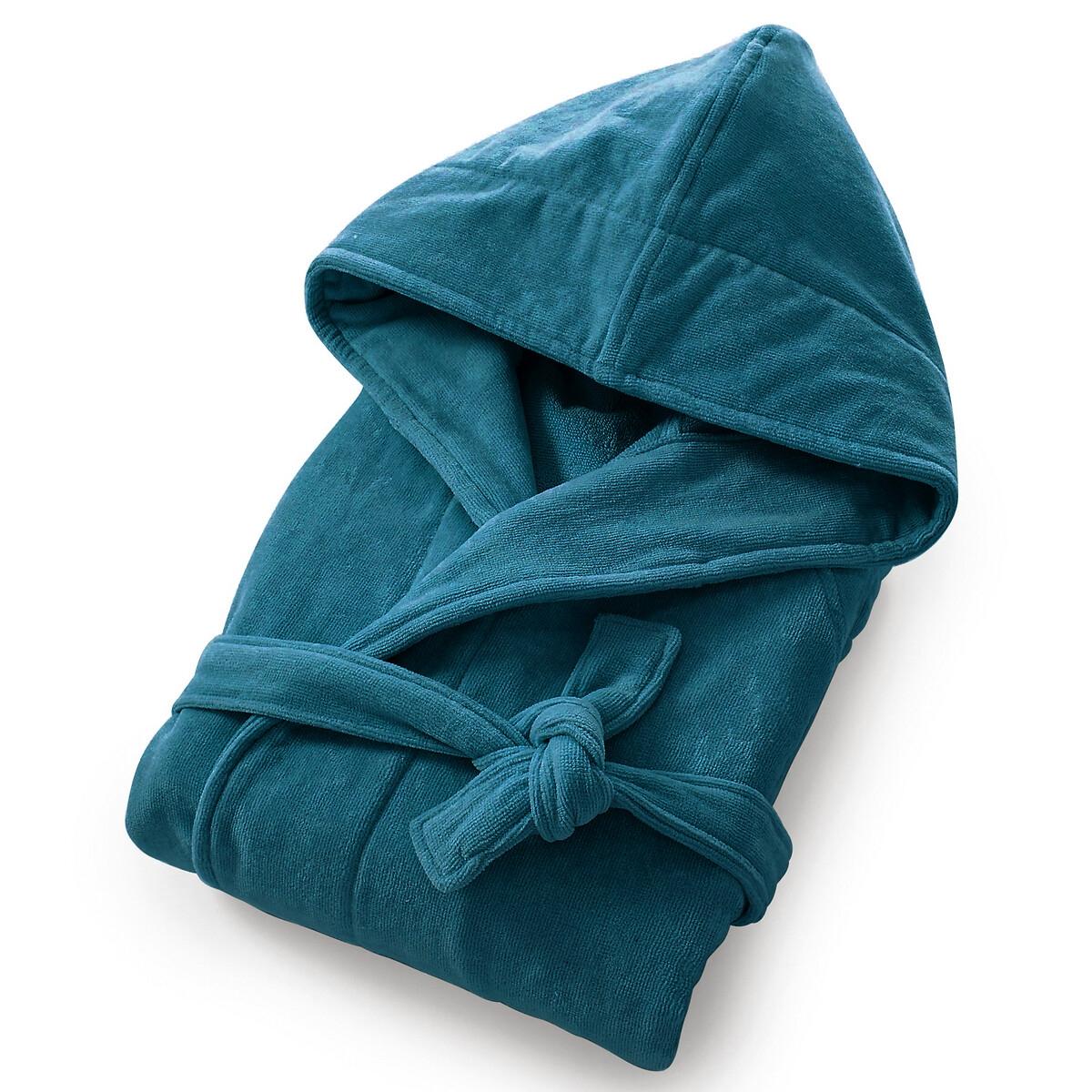 Халат LaRedoute — Махровая велюровая ткань 450 гм качество Best 50/52 (FR) - 56/58 (RUS) синий
