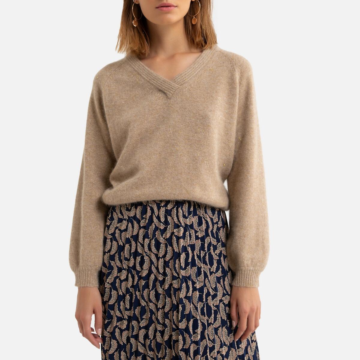 Пуловер La Redoute Из тонкого трикотажа V-образный вырез M/L каштановый пуловер la redoute из тонкого трикотажа со шнуровкой l бежевый
