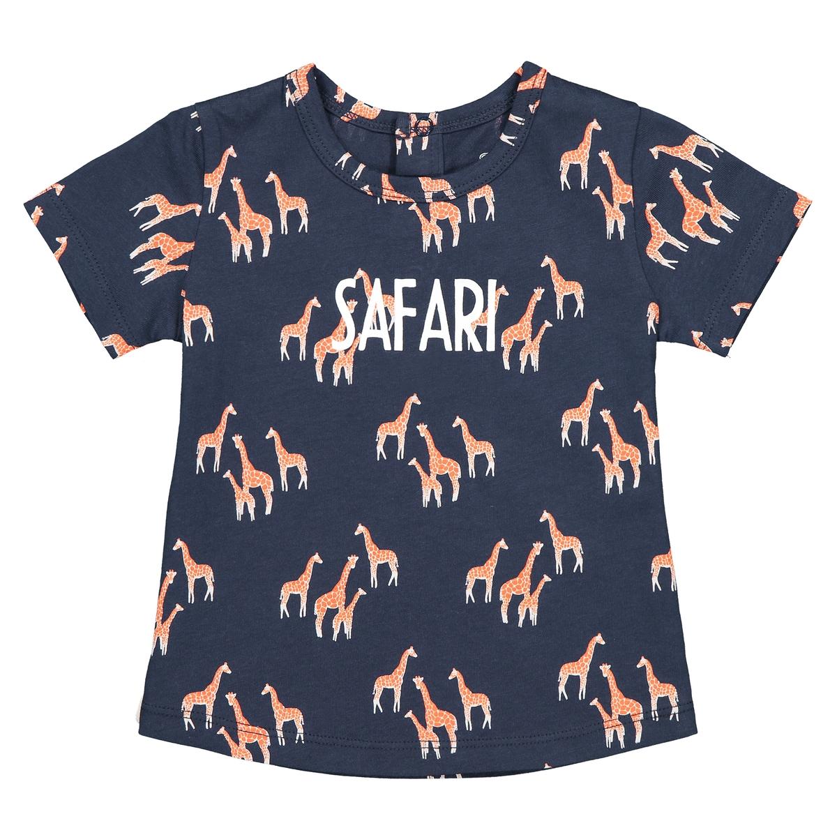 цена на Футболка La Redoute С круглым вырезом и рисунком жирафы мес - года 1 год - 74 см синий