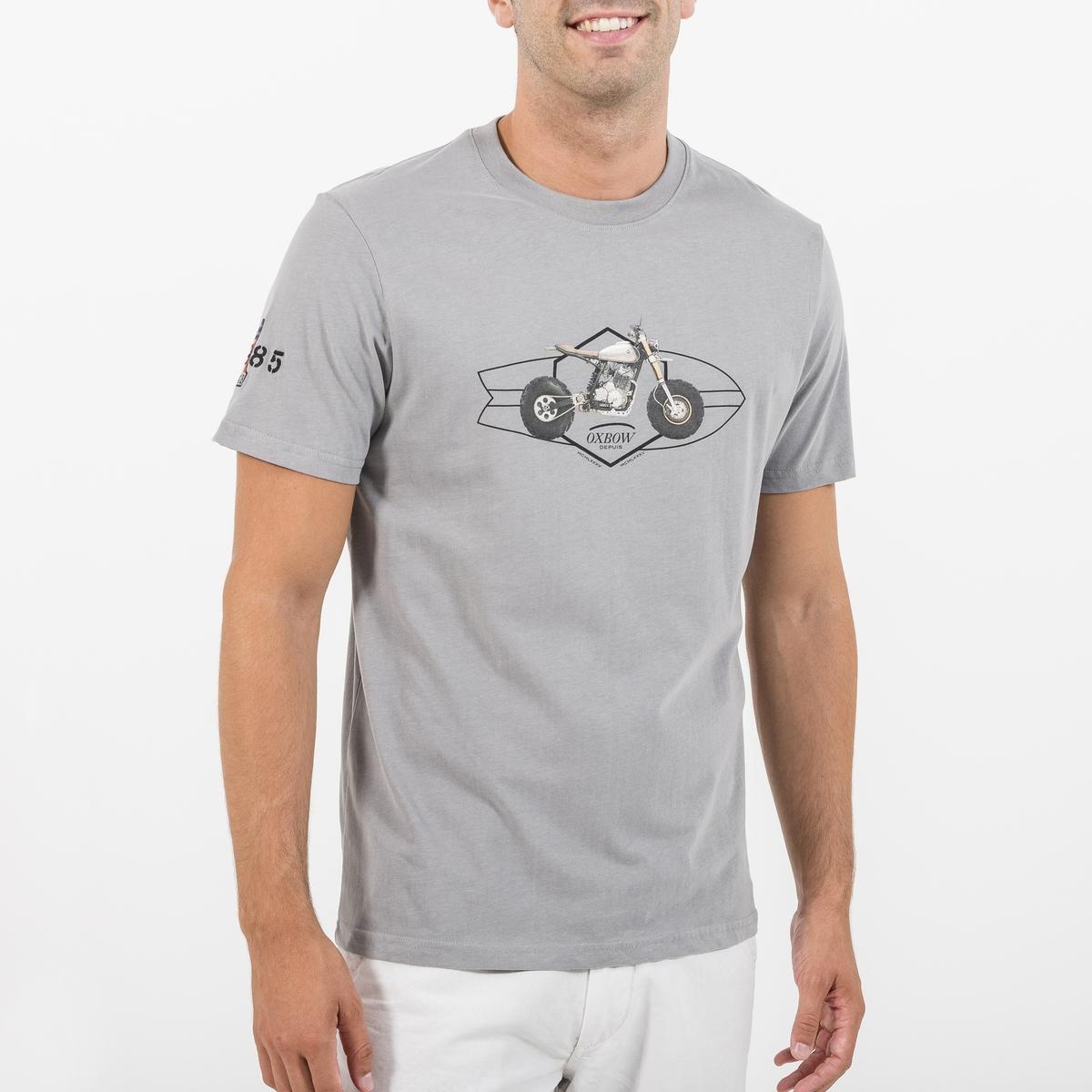 Футболка с круглым вырезом, короткими рукавами и рисунком спереди футболка с круглым вырезом и рисунком спереди