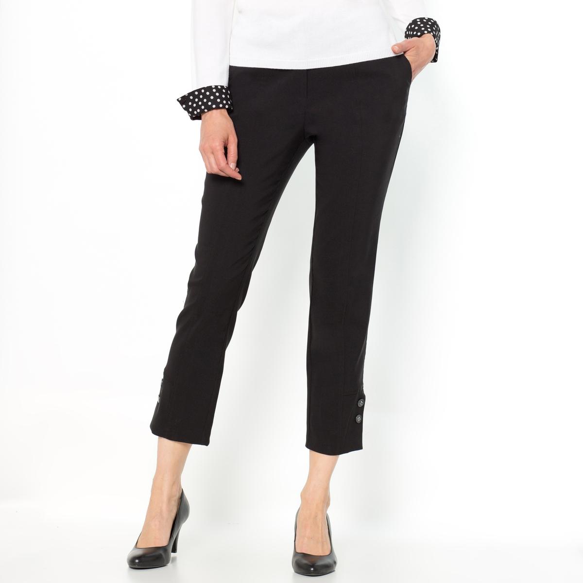 Капри из комфортной ткани стретчКапри. Красивая форма ноги благодаря удлиняющим отрезным деталям спереди и сзади. Карманы с отрезными бочками. Декоративный разрез и шлица по низу брючин.Состав и описание :Материал : комфортная ткань стретч, 71% полиэстера, 25% вискозы, 4% эластана.Длина по внутр.шву 58 см, ширина по низу 17 см.Марка : Anne WeyburnУход :Машинная стирка при 30 °С в умеренном режиме.Гладить при низкой температуре.<br><br>Цвет: черный<br>Размер: 50 (FR) - 56 (RUS).46 (FR) - 52 (RUS).44 (FR) - 50 (RUS).42 (FR) - 48 (RUS)