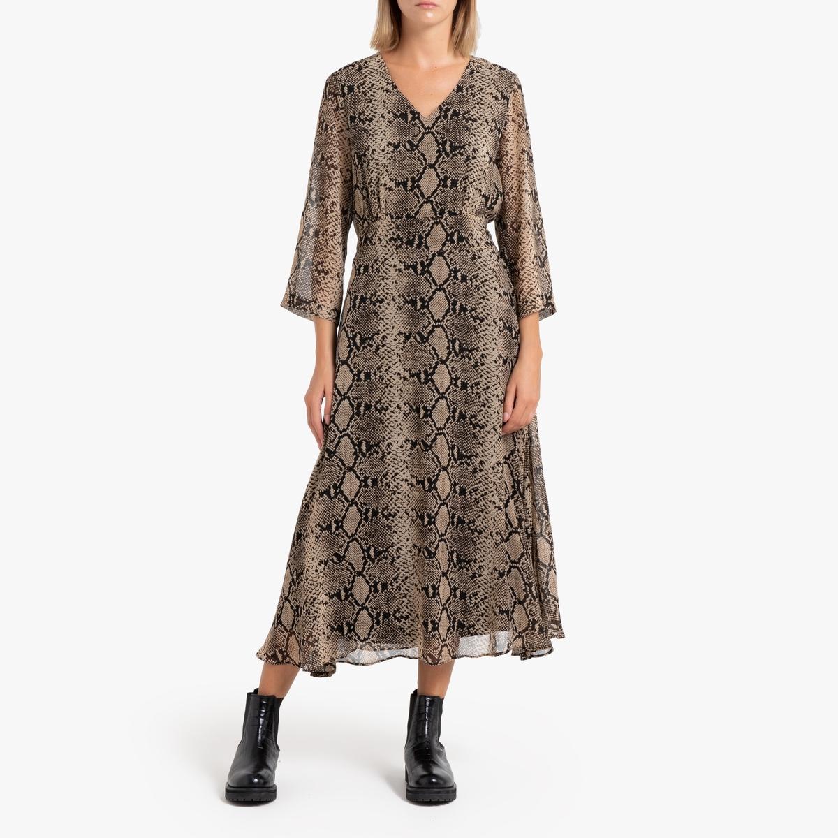 купить Платье La Redoute С рисунком под кожу питона и длинными рукавами CAMILA 0(XS) каштановый дешево