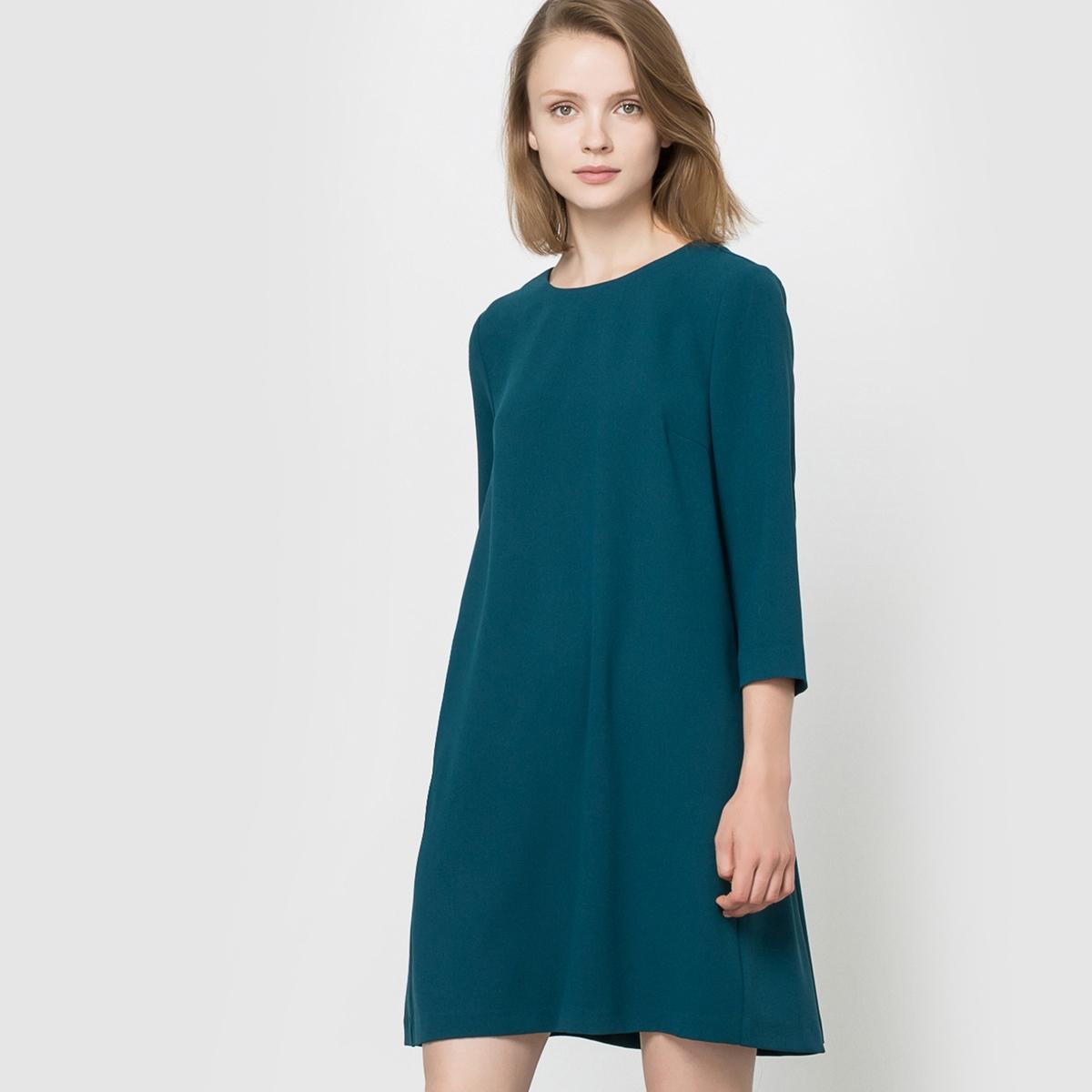 Платье с рукавами 3/4Состав и описаниеМарка:      SEE U SOON.     Материал:     95% полиэстера, 5% эластана.   Подкладка:   100% хлопка.          УходМашинная стирка при 30°C     с вещами схожих цветов.<br><br>Цвет: сине-зеленый,черный<br>Размер: L