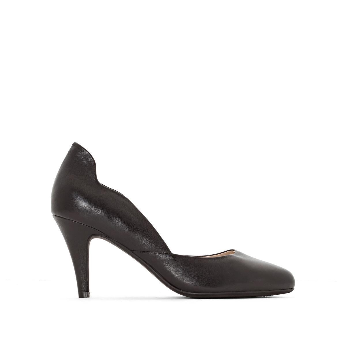 Туфли кожаные на каблукеТуфли Anne Weyburn, изящные и элегантные. Красивые вырезы по бокам.Верх : кожа.Подкладка : кожа.Стелька : кожа на подкладке из пеноматериала.Подошва : эластомер.Высота каблука : 8 см.<br><br>Цвет: золотистый,красный,черный<br>Размер: 37.41.40.39