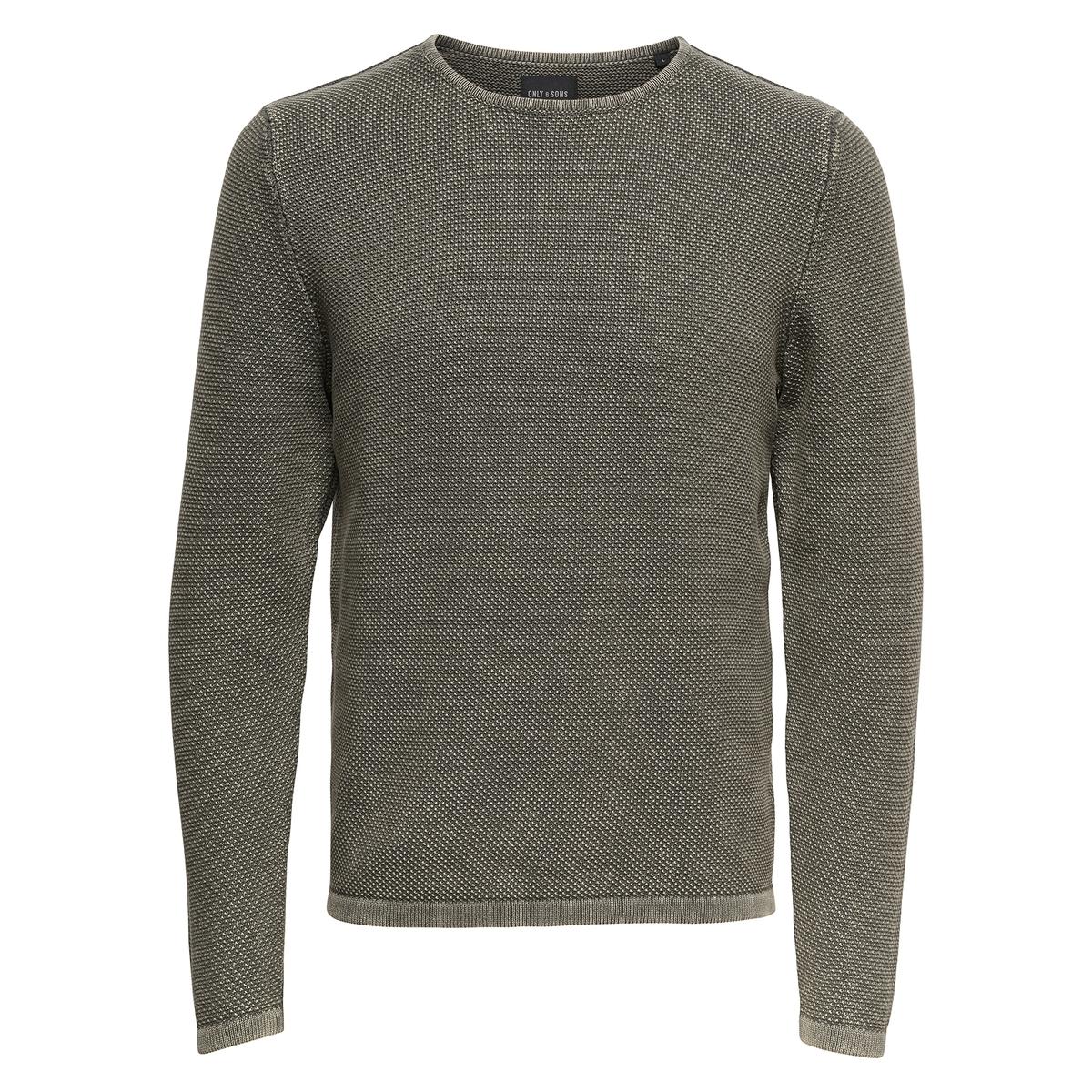 цена Пуловер La Redoute С круглым вырезом из тонкого трикотажа XXL зеленый онлайн в 2017 году