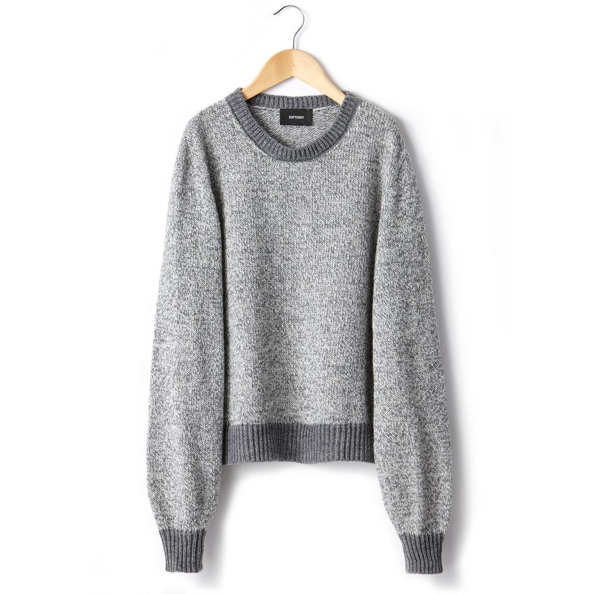 Пуловер, 50% шерстиПуловер из трикотажа, 50% шерсти, 50% акрила. Круглый вырез. Длинные свободные рукава. Длина 53 см.<br><br>Цвет: красный,серый меланж<br>Размер: 50/52 (FR) - 56/58 (RUS)
