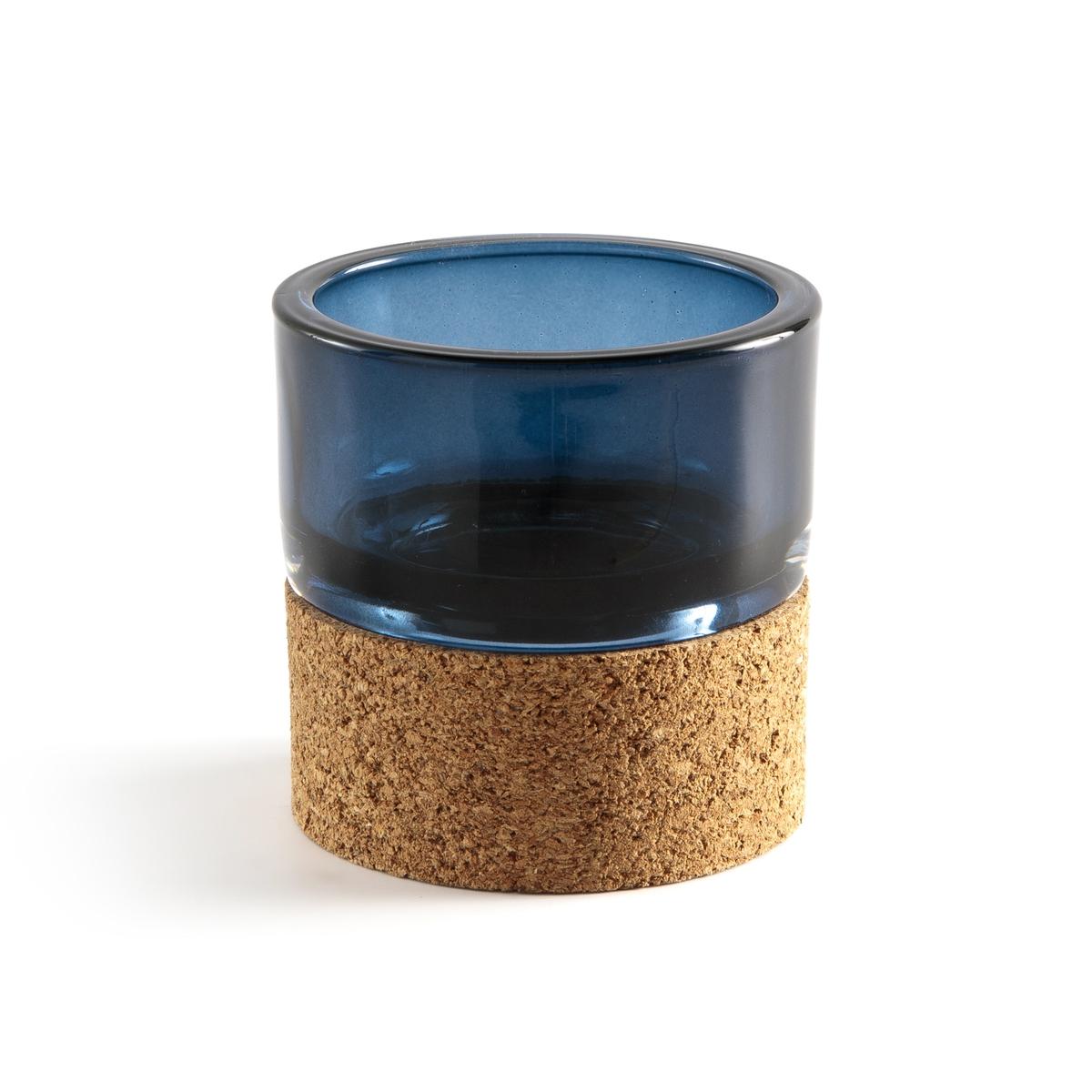 Подсвечник La Redoute Декоративный из стекла и пробки Masao единый размер синий