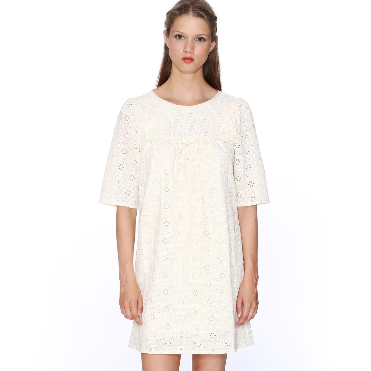 Платье с короткими рукавами из английского кружева PEPALOVES, Dress ClaudiaСостав и описание :Материал : 100% хлопка.Марка : PEPALOVES<br><br>Цвет: кремовый<br>Размер: M