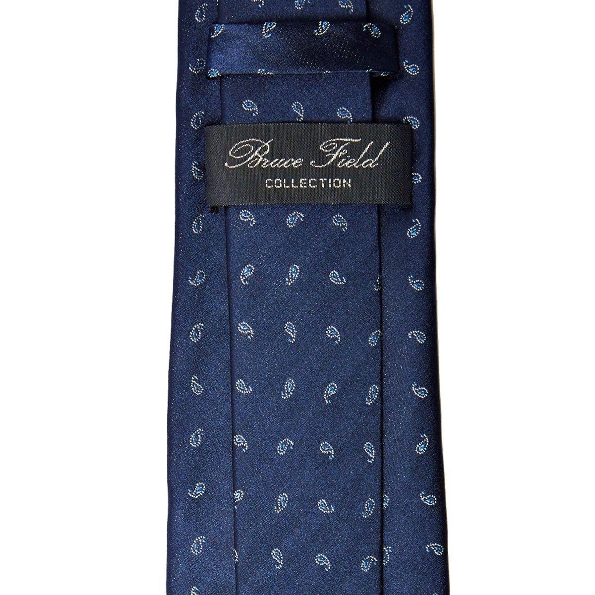 Cravate pure soie bleu à motifs cachemire