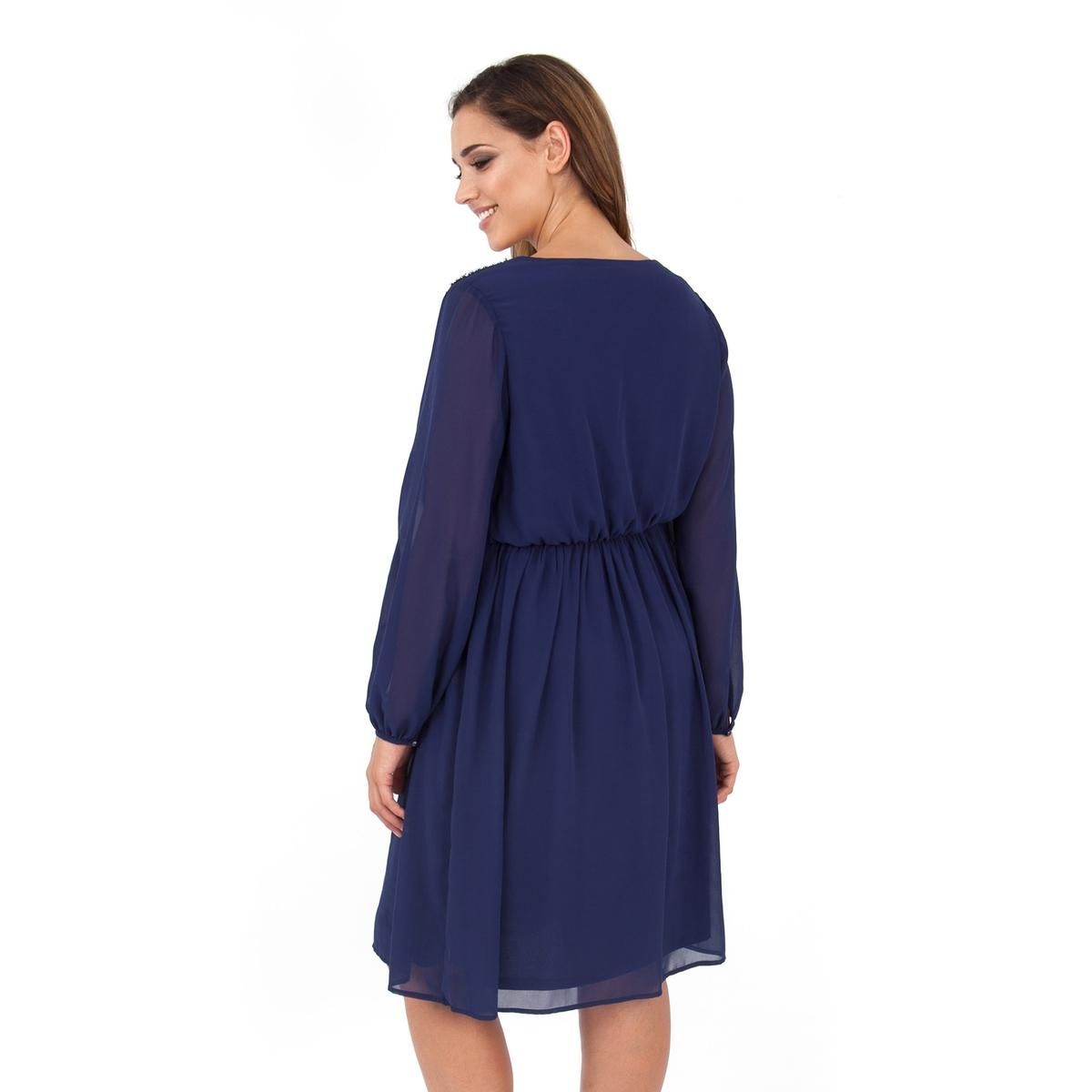 ПлатьеПлатье с длинными рукавами - LOVEDROBE. Область плеча расшита бисером. Красивый вырез декольте. Длина ок.104 см. 100% полиэстера.<br><br>Цвет: синий морской<br>Размер: 54/56 (FR) - 60/62 (RUS)