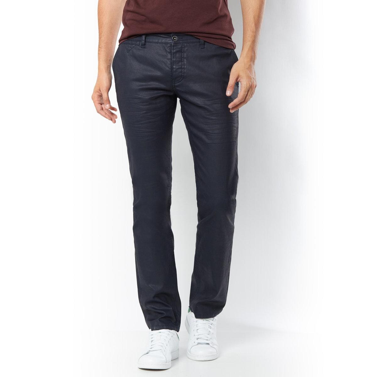 Джинсы узкие, длина 34Узкие джинсы из 100% хлопка. 2 кармана с отделкой кантом спереди и 2 накладных кармана сзади. Отрезные детали на коленях. Длина 34. Длина по внутр.шву 86 см. Ширина по низу 18,5 см.<br><br>Цвет: темно-синий<br>Размер: 36 (FR) - 42 (RUS)