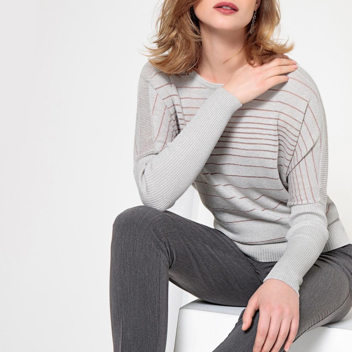 Imagen principal de producto de Jersey a rayas con cuello redondo, de punto fino - Anne weyburn