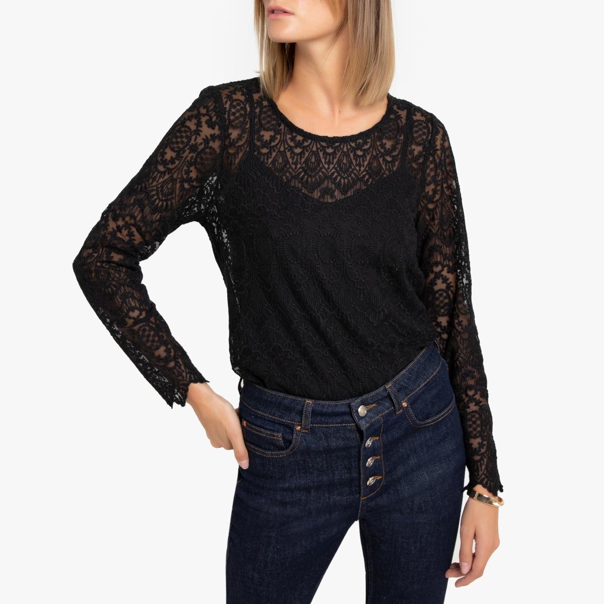 Блузка La Redoute Из кружева с круглым вырезом и длинными рукавами S черный кардиган la redoute с длинными рукавами galinais s черный