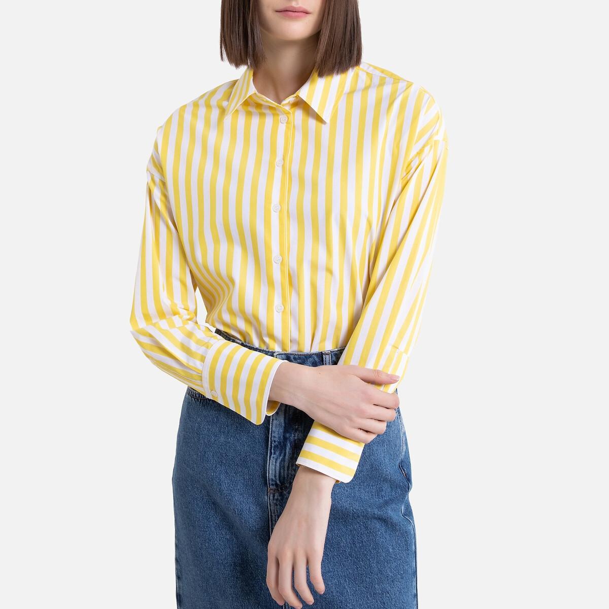 Camisa a rayas con corte amplio y manga larga