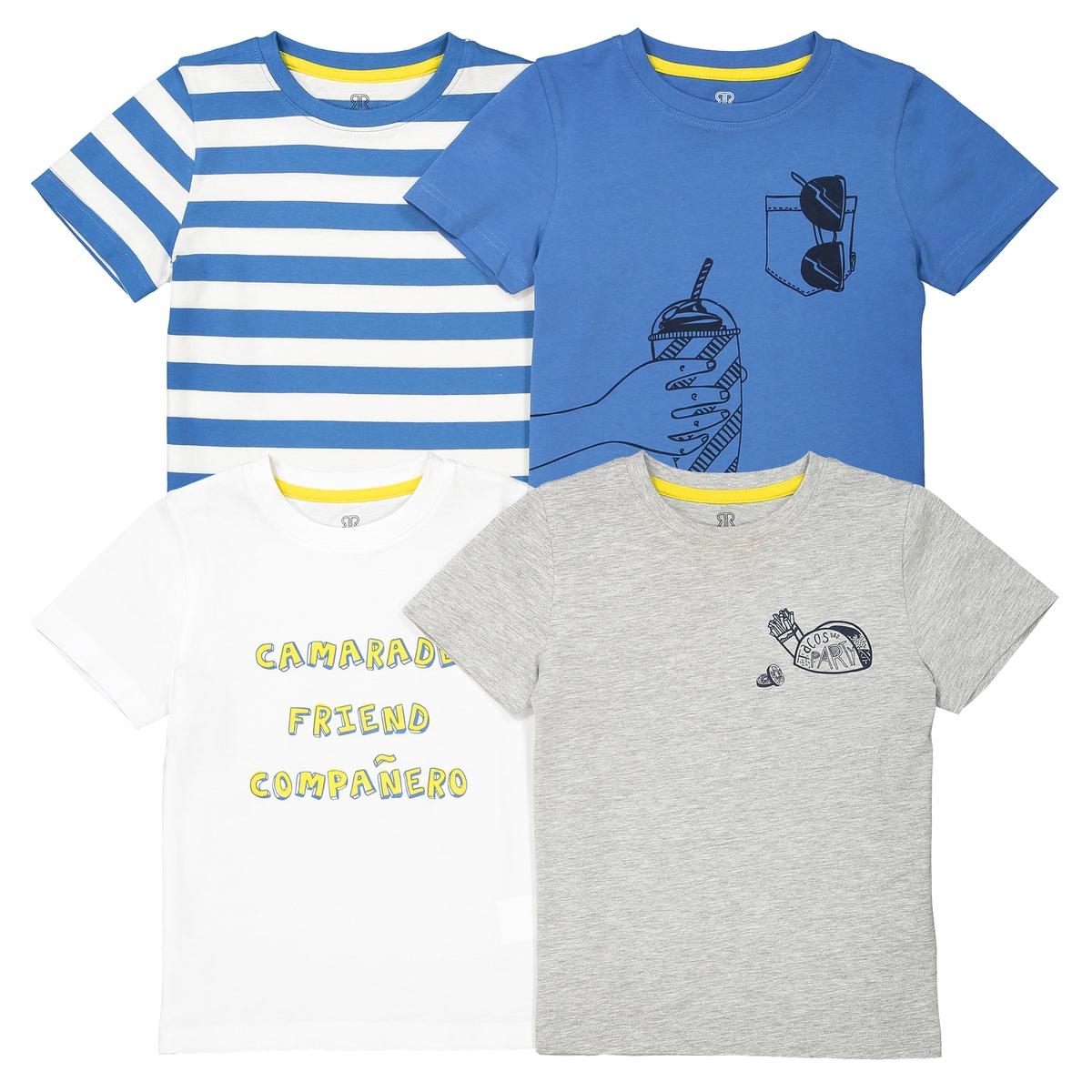 4 футболки с принтом 3-12 лет