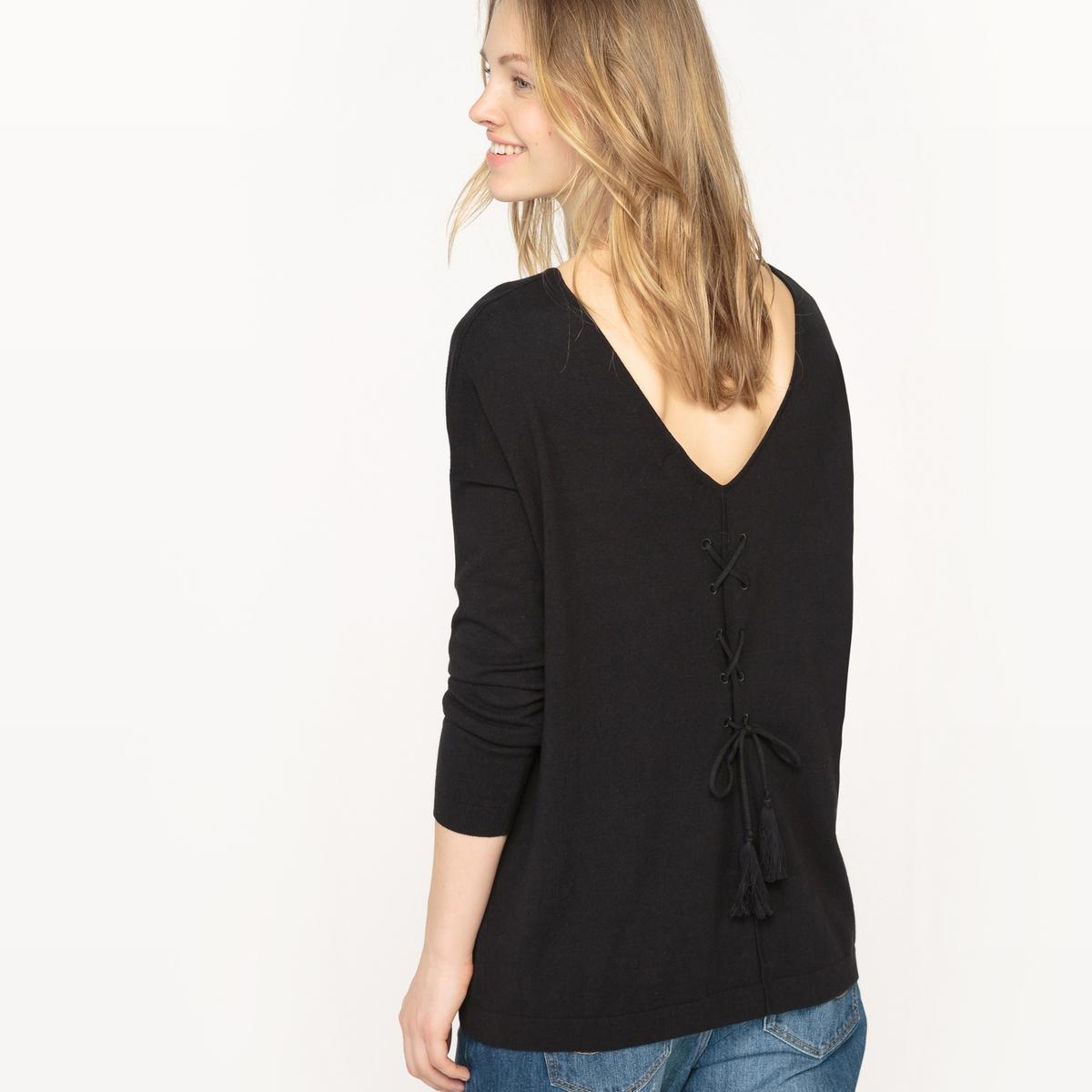 Пуловер с круглым вырезом и шнуровкой сзади