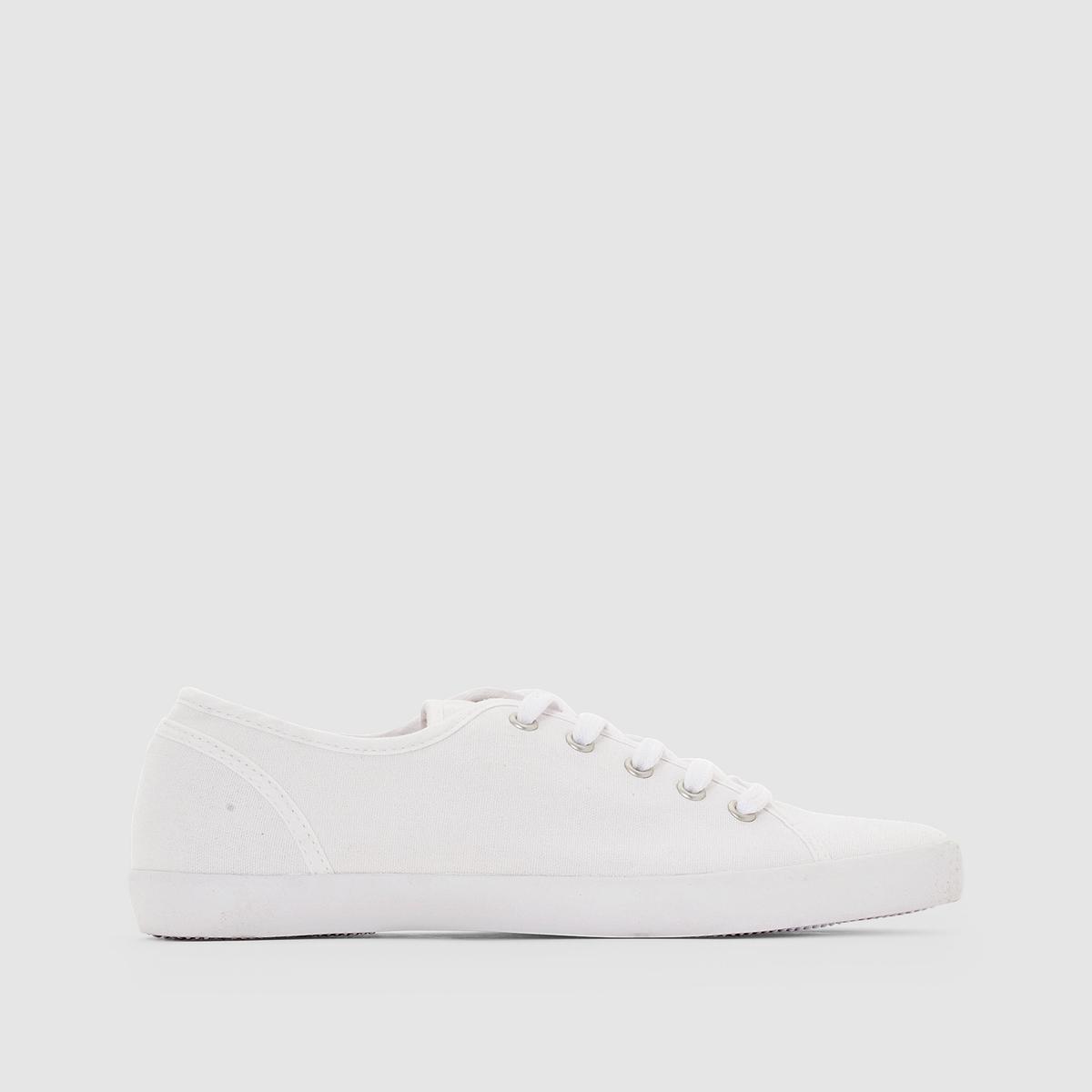 Кеды из тканиДетали •  Спортивный стиль •  Плоский каблук •  Высота каблука : 0 см •  Застежка : шнуровка •  Гладкая отделкаСостав и уход   •  Верх 100% хлопок •  Подкладка 100% хлопок<br><br>Цвет: белый<br>Размер: 36.38.40.37