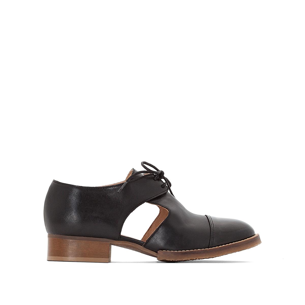 Ботинки-дерби кожаные AnoukВерх : кожа   Подкладка : кожа   Стелька : кожа   Подошва : эластомер   Высота каблука : 1 см   Форма каблука : плоский каблук   Мысок : закругленный мысок   Застежка : шнуровка<br><br>Цвет: черный<br>Размер: 36