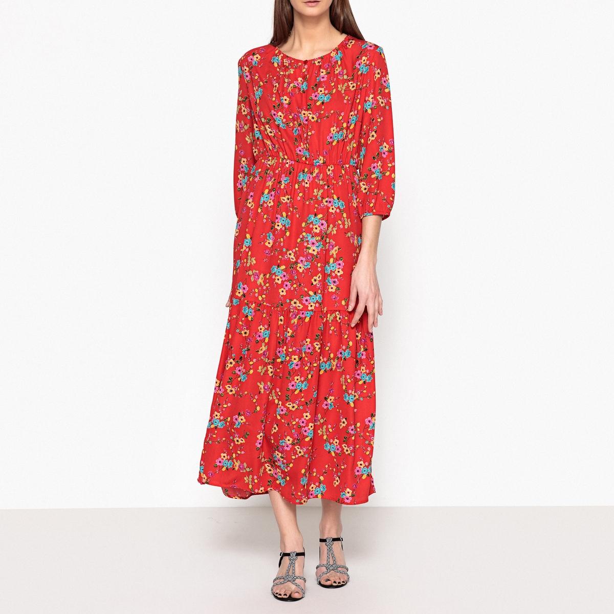 Платье длинное с принтом на эластичном поясе JACKSON