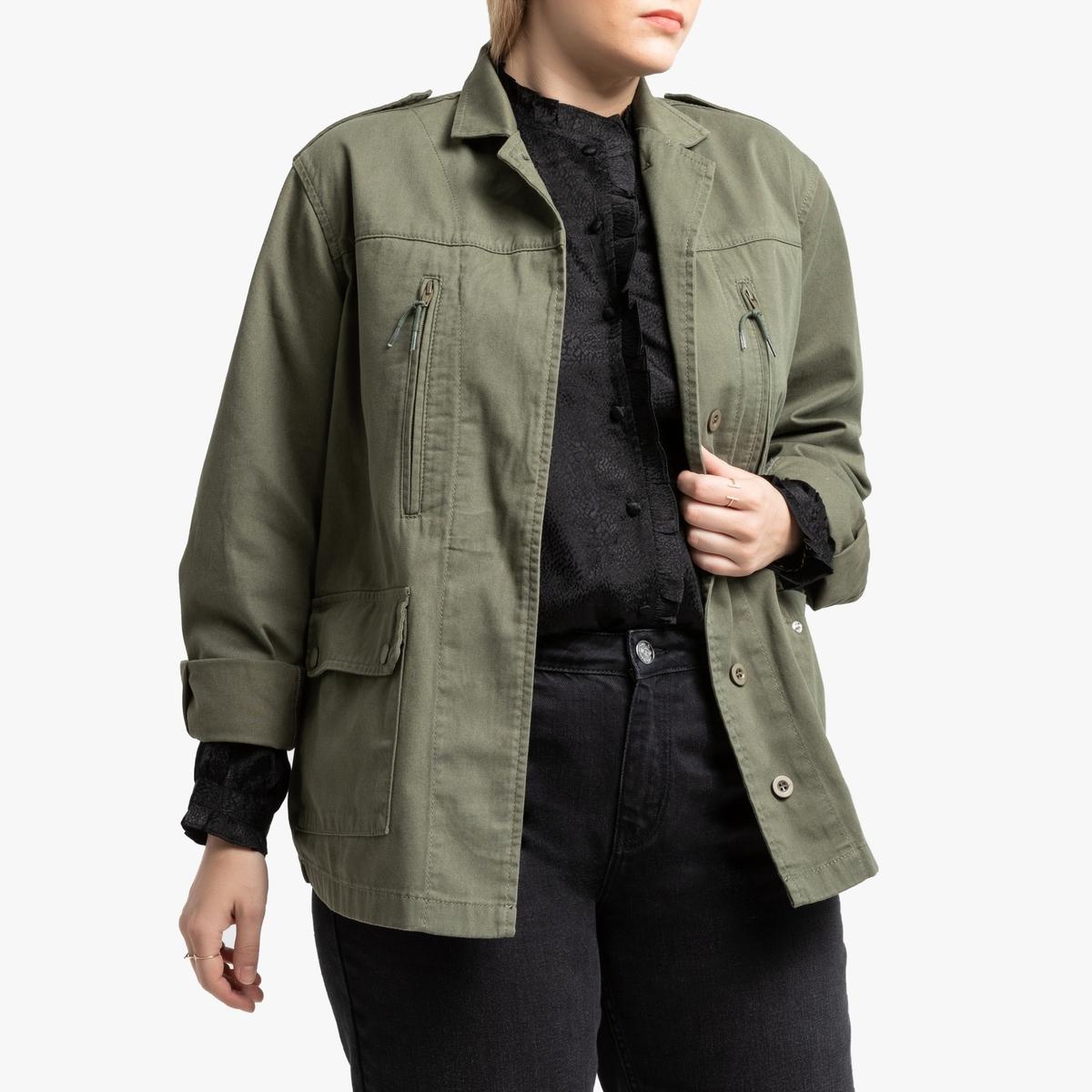 Жакет La Redoute В стиле милитари 52 (FR) - 58 (RUS) зеленый цены онлайн