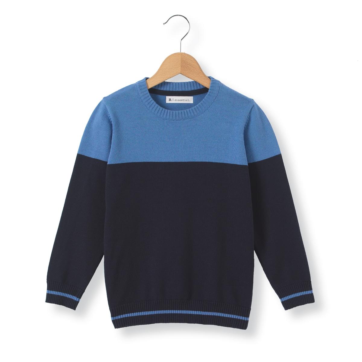 Пуловер двухцветный с круглым вырезом, 3-12 лет