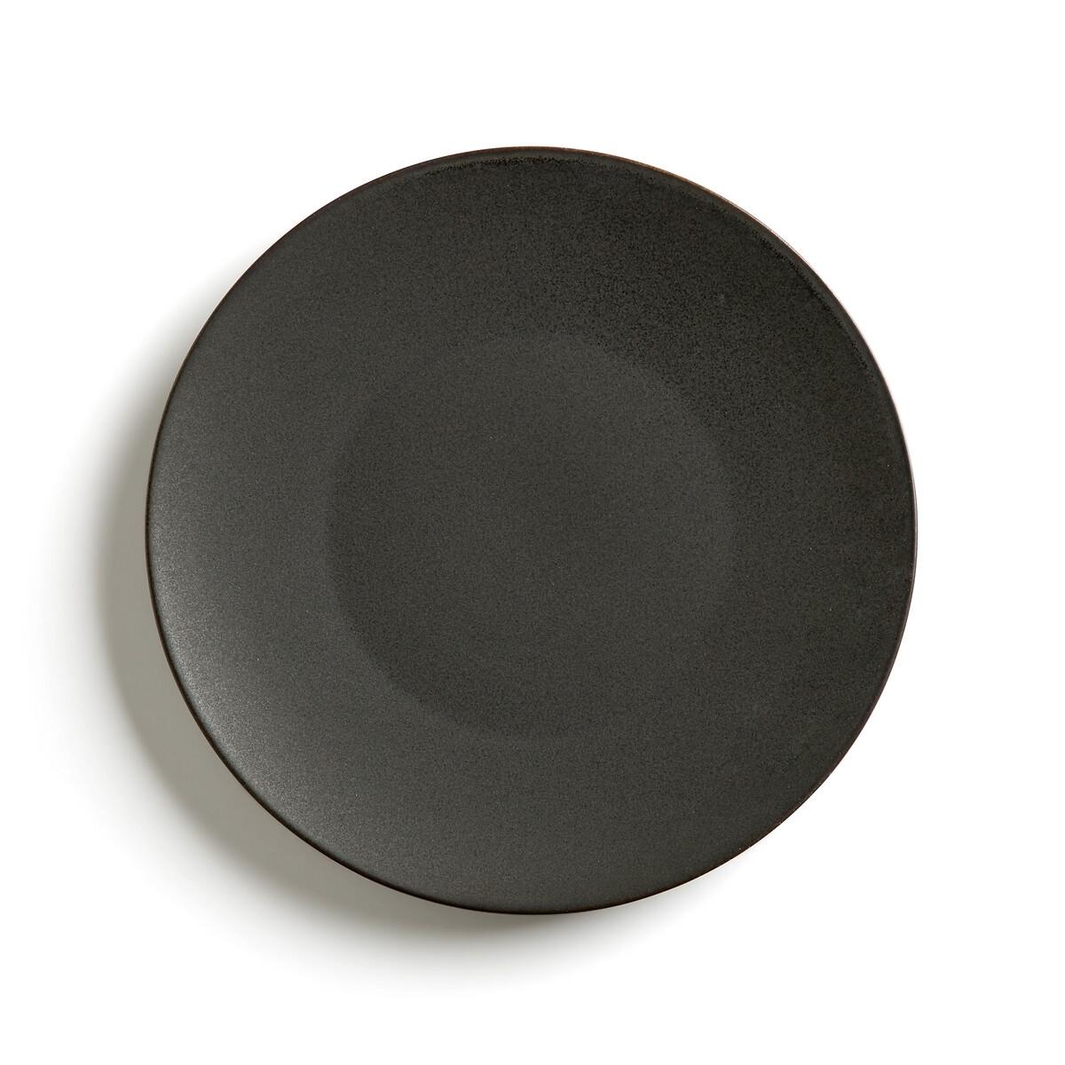 Комплект из 4 мелких тарелок LaRedoute Из матовой керамики Organic единый размер черный комплект из 2 вешалок slofia laredoute из березы единый размер черный