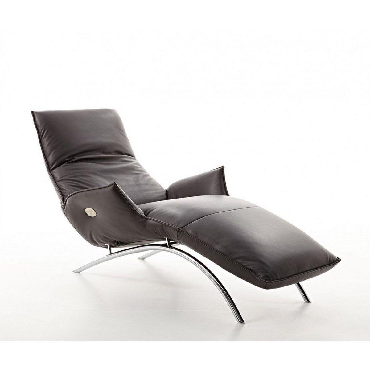 Chaise longue en cuir gris MADAME DAY LOUNGE Relax sur batterie