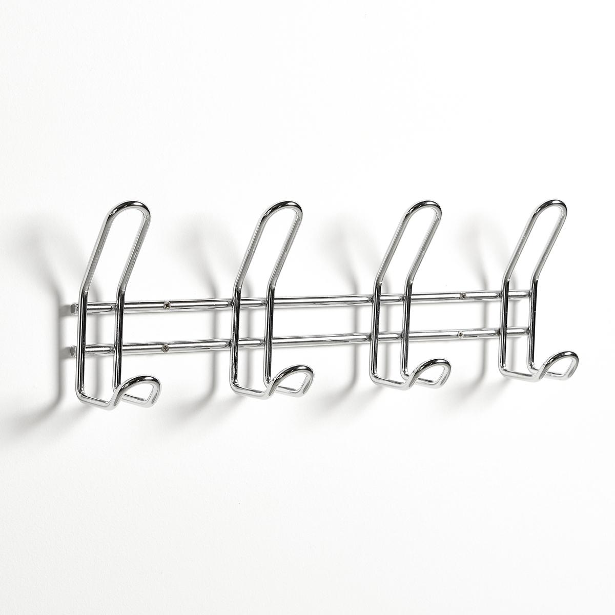 Вешалка с 4 крючками из хромированной сталиПодвесная вешалка из хромированной стали с 4 крючками. Закругленные концы сверху и снизу для защиты одежды. Простой и усовершенствованный дизайн впишется в любой интерьер.Описание вешалки:Вешалка с 4 крючками из хромированной сталиОписание вешалки :Из хромированной сталиРазмеры :Д37,5 x В4,5 x Г13,5  смВес : 0,693 кгРазмеры упаковки : 1 упаковка12 x 12 x 43 смВес : 693 г- Шурупы и дюбели продаются отдельно<br><br>Цвет: серый хромированный<br>Размер: единый размер