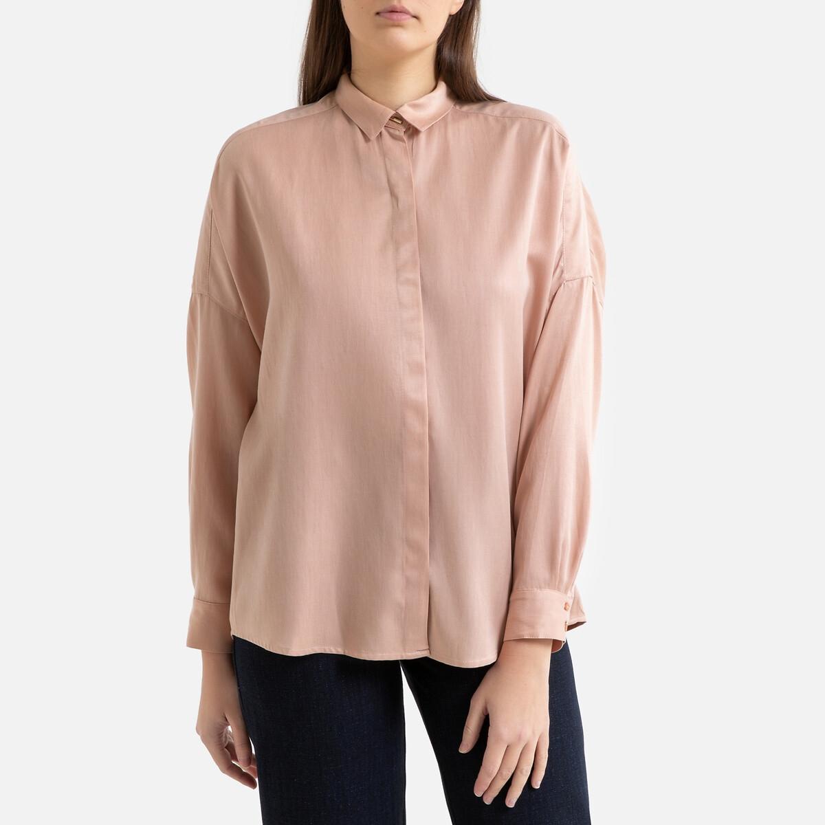 Блузка La Redoute Струящаяся с длинными рукавами LADY D M розовый цена 2017