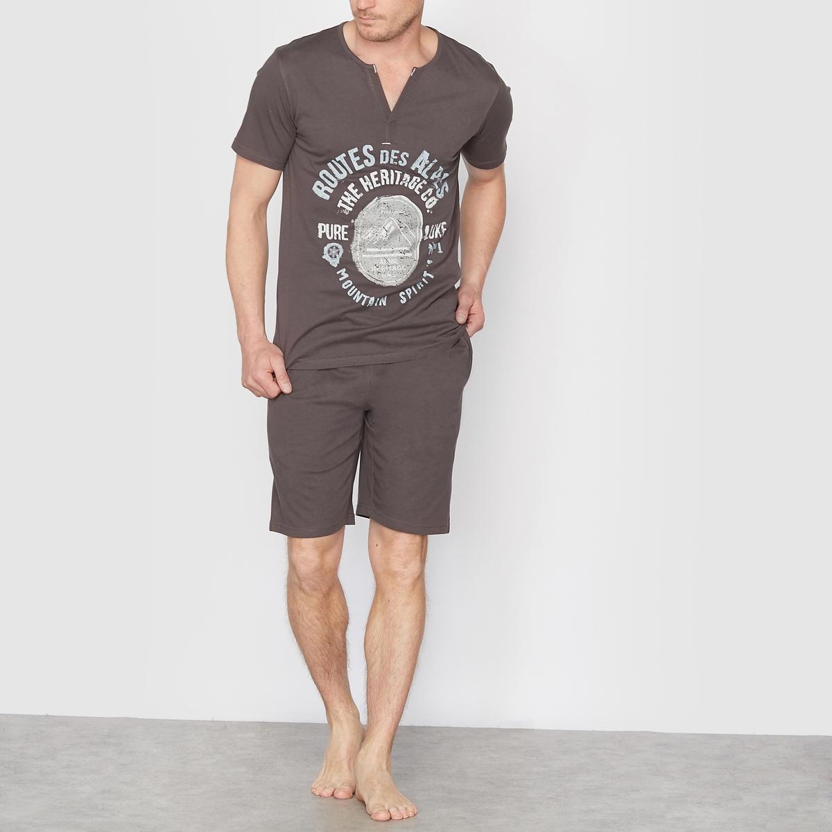 Пижама с шортами из хлопкового джерси*Международный знак Oeko-Tex гарантирует отсутствие вредных и раздражающих кожу веществ.<br><br>Цвет: антрацит<br>Размер: 50/52